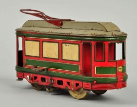 German Orobr Tin Litho Wind Up Trolley Toy.
