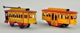 Lot Of 2: Strauss Tin Litho Trolleys.