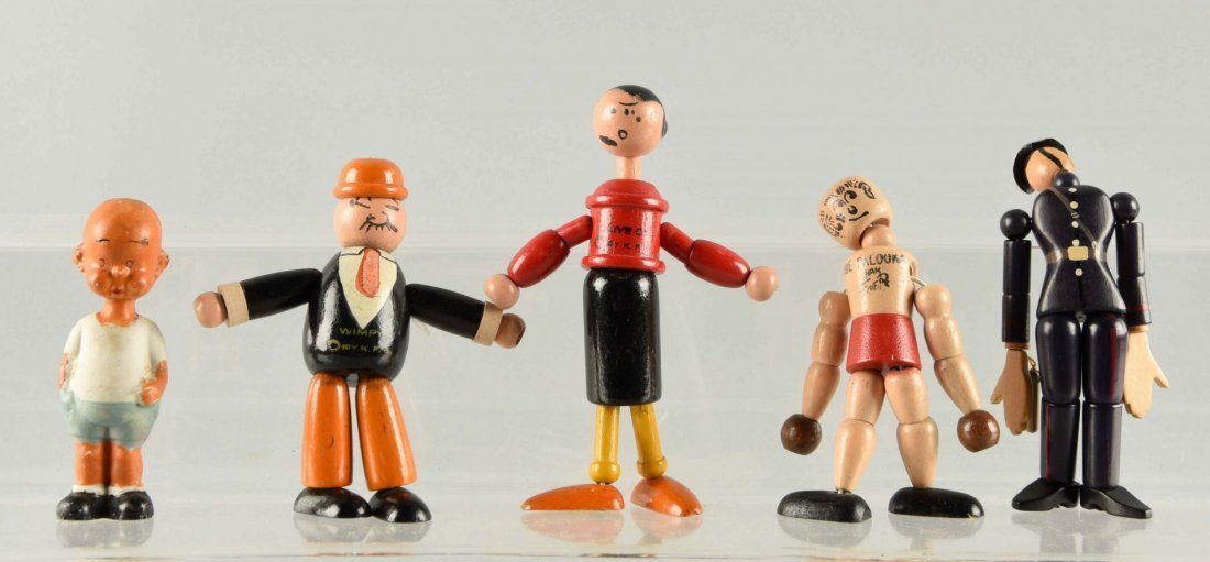 5 Wood Jointed & Bisque Comic Character Figures.