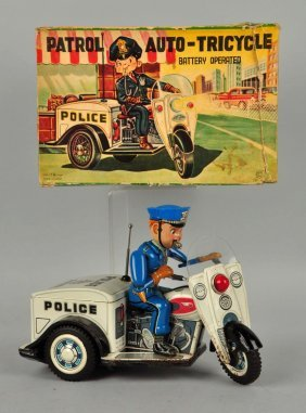Japanese Tin Litho Battery Op Police Patrol.