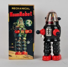 Japanese Tin Litho Wind-up Moon Robot.