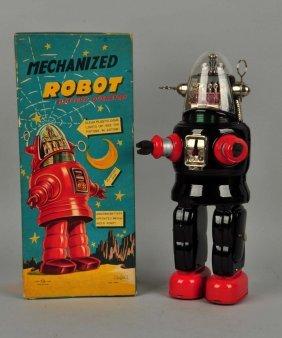 Japanese Tin Litho Battery Op Mechanized Robot.