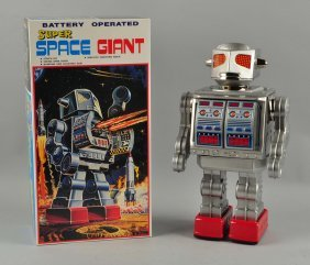 Japanese Tin Litho Battery Op Space Giant Robot.