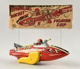 Marx Tin Litho Wind Up Sparkling Rocket Fighter.