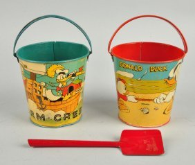 Lot Of 2: Disney Donald Duck Tin Litho Sand Pails.