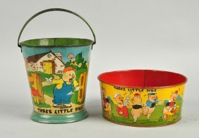 Lot Of 2: Three Little Pigs Tin Litho Sand Toys.