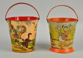 Lot Of 2: Ohio Art Disney Tin Litho Sand Pails.