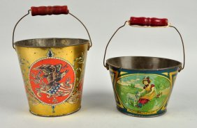 Lot Of 2: Early American Made Tin Litho Sand Pail.