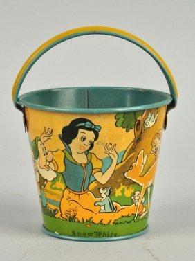 Ohio Art Walt Disney Tin Litho Snow White Pail.
