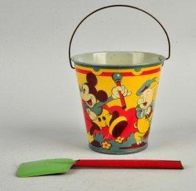 English Walt Disney Mickey Mouse Themed Sand Pail.