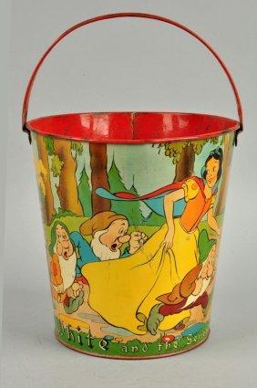Walt Disney Snow White Tin Litho Sand Pail.