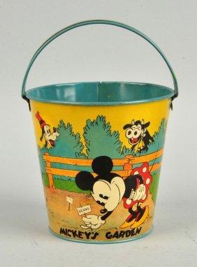 Walt Disney Themed Tin Litho Ohio Art Sand Pail.
