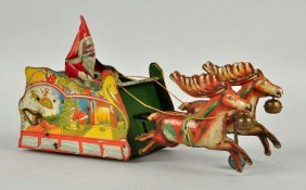 Strauss Tin Litho Wind Up Santee Claus Toy.