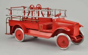 Buddy L Pressed Steel Hook & Ladder Fire Truck.