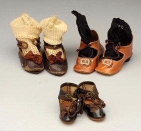 3 Pr Antique Shoes Inc. Jumeau Shoes