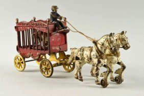 Cast Iron Kenton Overland Circus Cage Wagon.