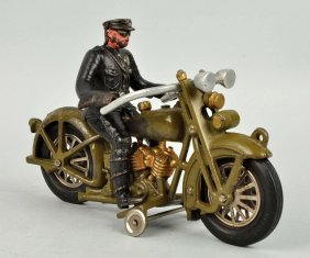 Green Cast Iron Motorcycle With Driver.