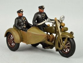 Cast Iron Harley Davidson Motorcycle W/ Side Car.
