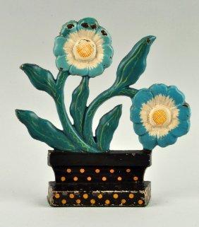 Cast Iron Modernistic Flower In Pot Doorstop.