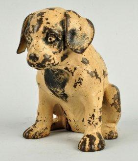 Cast Iron Sitting Beagle Pup Dog Doorstop.