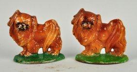 Lot Of 2: Cast Iron Pekingese Dog Bookends.