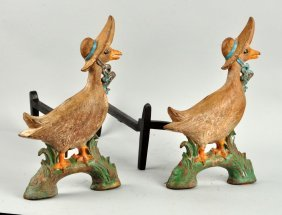 Cast Iron Mother Goose Andirons.