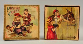 Mcloughlin Bros. Early Picture Cube Puzzle Set.