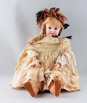 Large Antique Bisque Head German Doll.