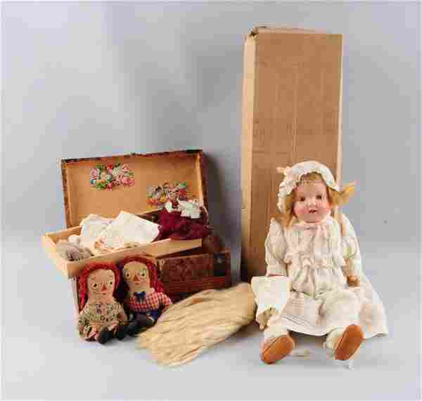Lot Of 4: Vintage Dolls and Wooden Doll Trunk.
