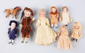 Lot Of 8: Antique Miniature German Bisque Dolls.