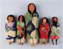 Lot Of 5 Vintage Skookum Indian Dolls
