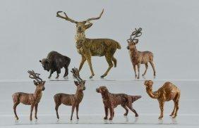 Lot Of 7: Metal Animal Figurines.