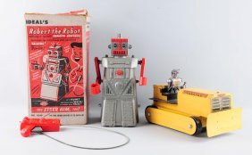 Lot Of 2: American Made Battery Op Robot Toys.