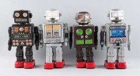 Lot Of 4: Japanese Battery Op Robots & Spacemen.