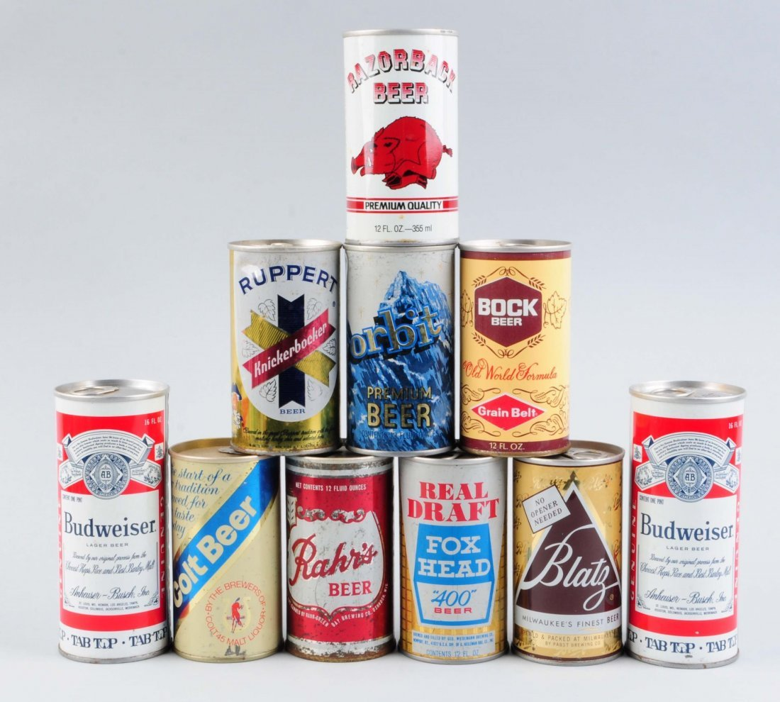 Lot Of 10: Assorted Pull Tab Beer Cans.