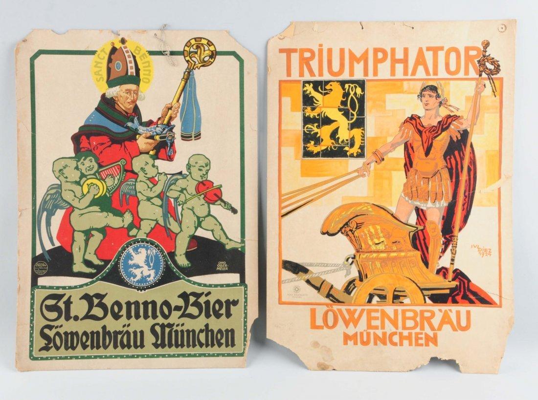 Lot Of 2: Early German Beer Cardboard Signs.