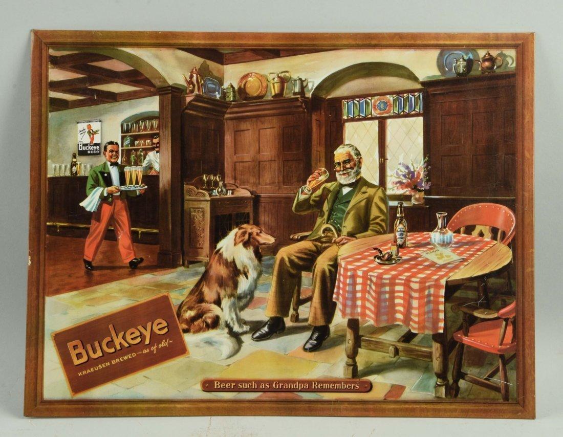 Buckeye Beer Tin Over Cardboard Advertising Sign.