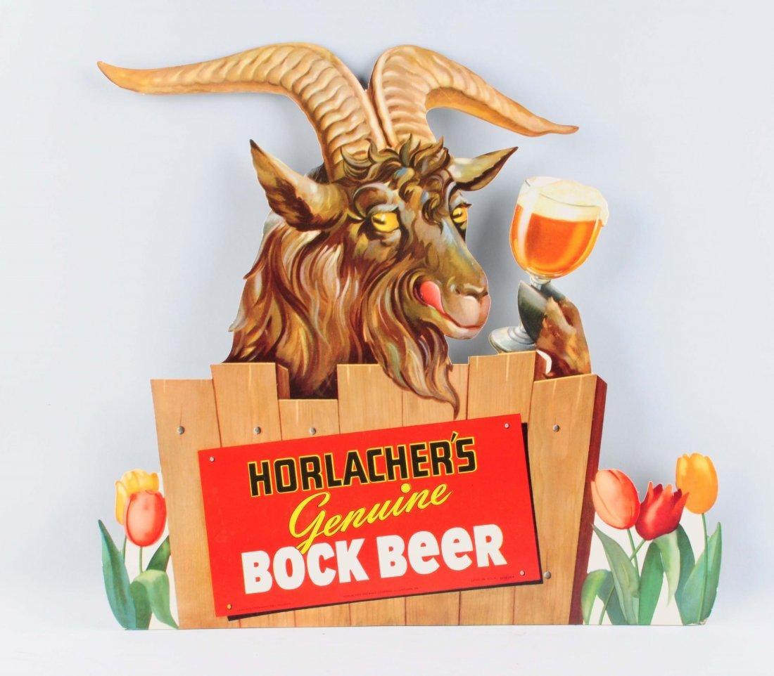 Diecut Horlacher's Beer Easel Back Sign.