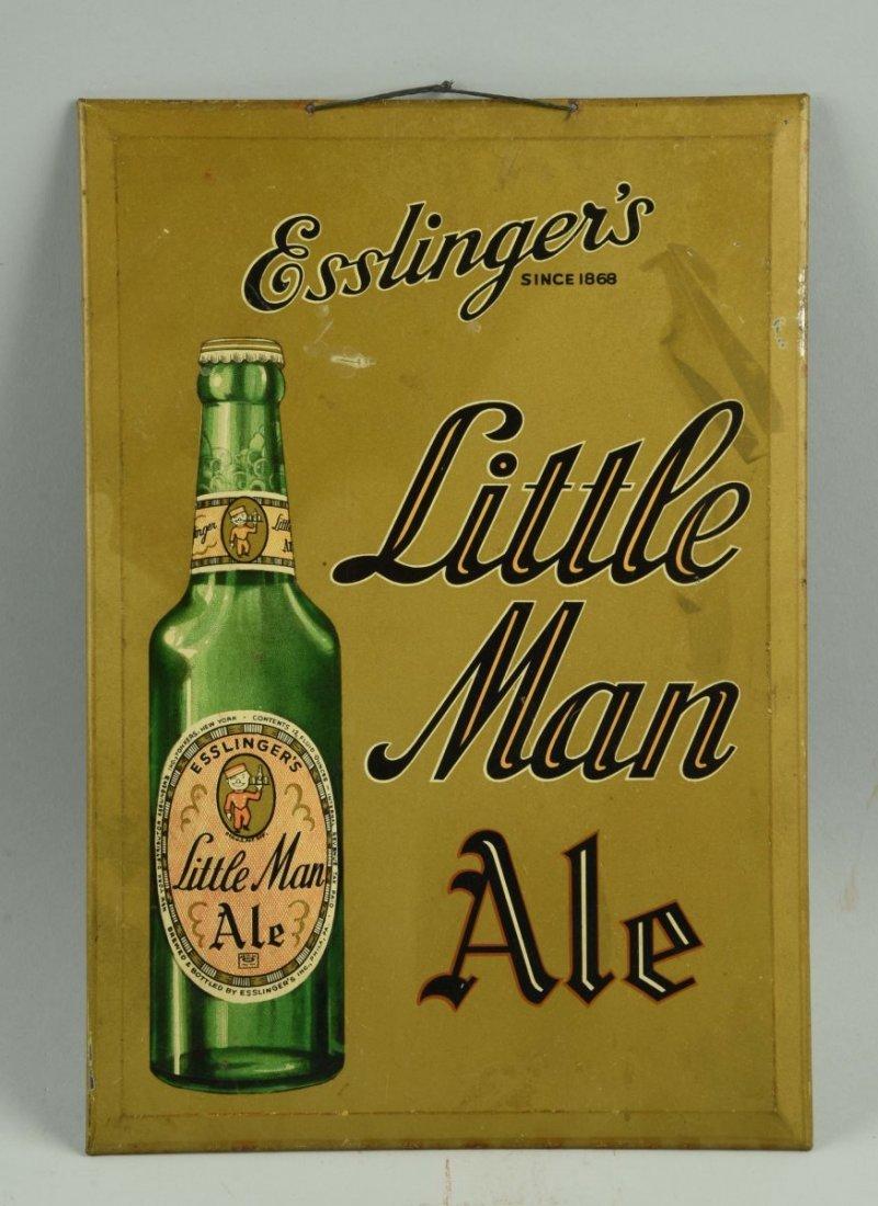 Esslinger's Little Man Ale Tin Advertising Sign.