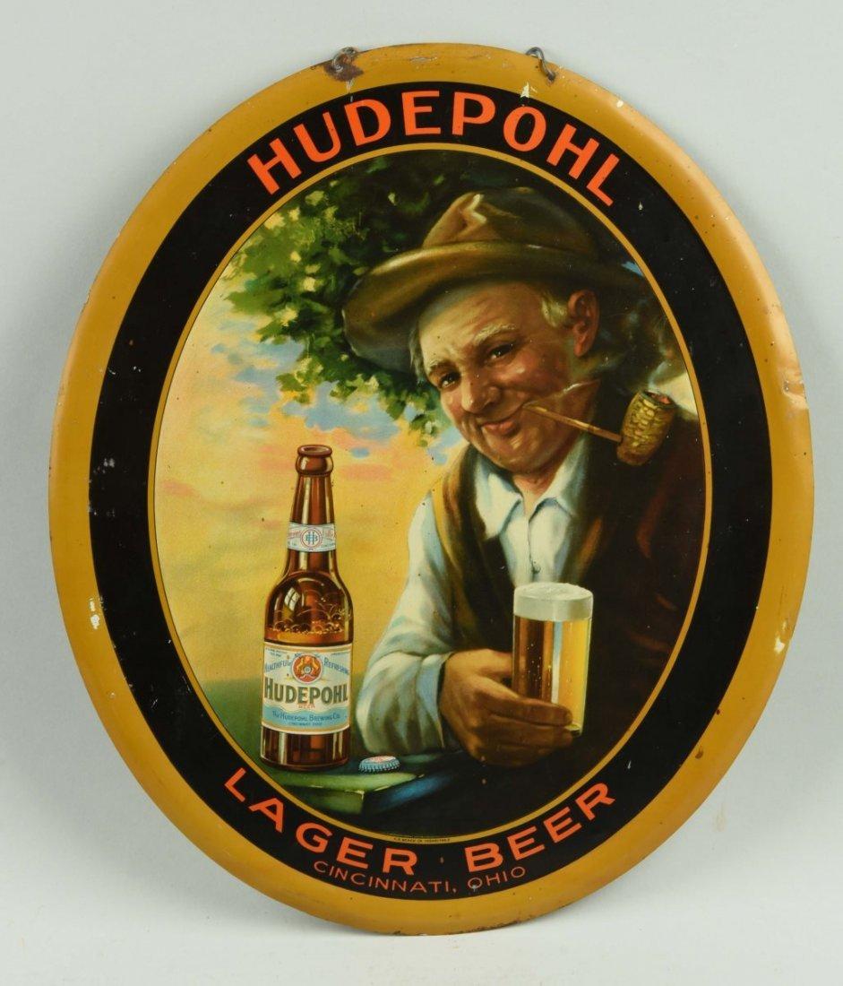 Hudepohl Beer Self Framed Tin Advertising Sign.