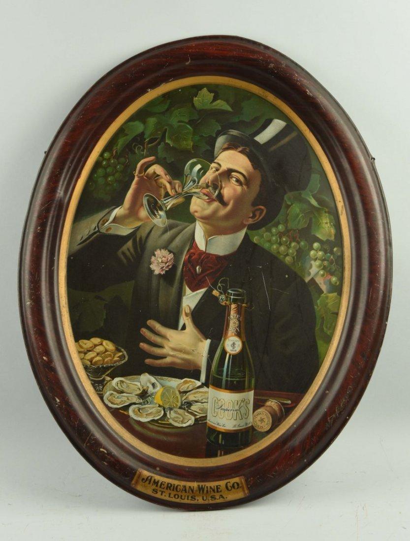 American Wine Company Oval Tin Sign.
