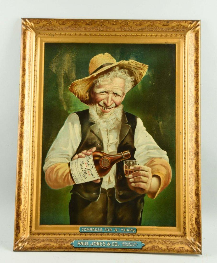 Self Framed Paul Jones Whiskey Tin Sign.