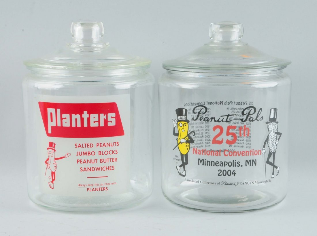 Lot Of 2: Mr. Peanut Glass Jars.