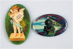 Lot Of 2 Early Celluloid Pocket Mirrors