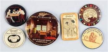 Lot Of 6 Early Celluloid Pocket Mirrors