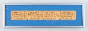 Unused Inman Bros Flying Circus Tickets.