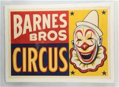 Barnes Bros Circus Advertising Poster