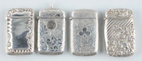 Lot Of 4: Sterling Silver Match Safes.