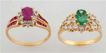 A Group Of Two Gemstone, Diamond And Gold Rings