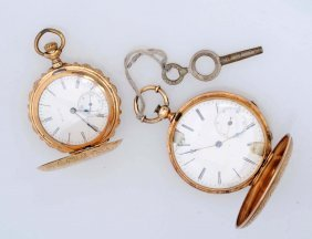 A Group Of Two Lady's Hunting Case Pocket Watches